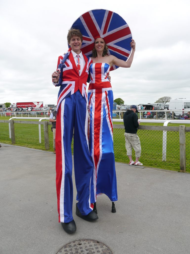 Union Jack Stilt walkers