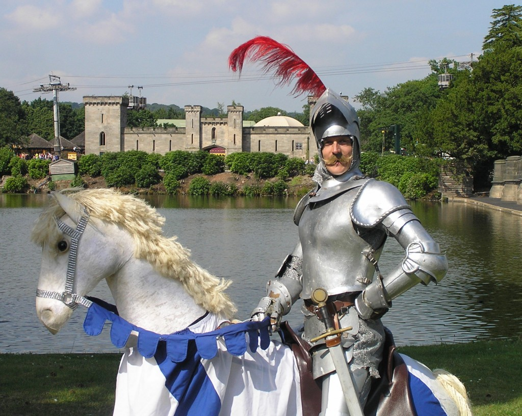 Knight on horse by lake